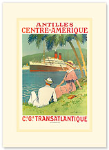 Antilles Centre Amerique - Central America Cruise Ship - Premium Vintage Collectible Blank Greeting Card