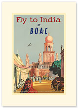 India by BOAC - Premium Vintage Collectible Blank Greeting Card