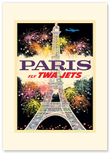 Paris, France - Fly TWA Jets - Premium Vintage Collectible Blank Greeting Card