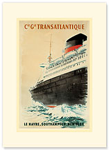 Compagnie Transatlantique - Le Havre Southampton New York - Premium Vintage Collectible Blank Greeting Card