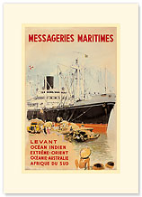 Messageries Maritime - Premium Vintage Collectible Blank Greeting Card