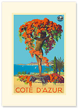 Cote D'Azur Statue PLM - French Riviera - Premium Vintage Collectible Blank Greeting Card