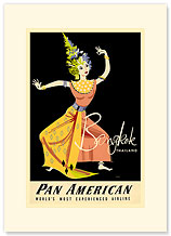 Pan Am Bangkok - Thai Dancer Thailand - Premium Vintage Collectible Blank Greeting Card