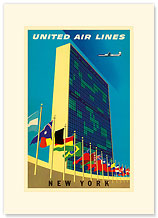 United Airlines New York - United Nations (UN) Headquarters Manhattan - Premium Vintage Collectible Blank Greeting Card