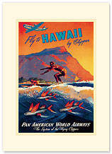 Fly To Hawaii - Hawaiian Premium Vintage Collectible Blank Greeting Card
