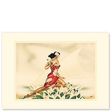 Wahine in Red - Personalized Vintage Collectible Greeting Card