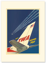 Boeing 707 - Fly TWA (Trans World Airlines) - Airplane Tail - Premium Vintage Collectible Blank Greeting Card