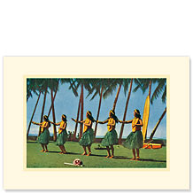 Hula Dancers - Personalized Vintage Collectible Greeting Card