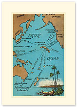 Hawaiian Islands Map - Hawaiian Premium Vintage Collectible Blank Greeting Card