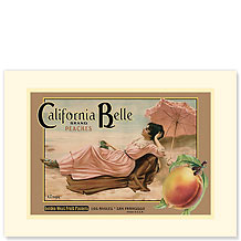 California Belle Peaches - Premium Vintage Collectible Blank Greeting Card