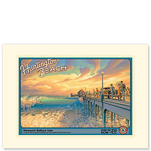 Visit Huntington Beach - Premium Vintage Collectible Blank Greeting Card
