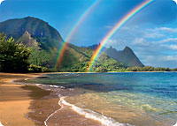 Rainbow Paradise - Hawaiian Thick Premium Postcard