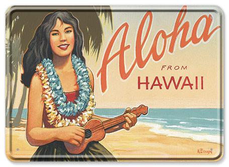 Aloha from Hawaii - Hawaiian Vintage Tin Sign Postcards