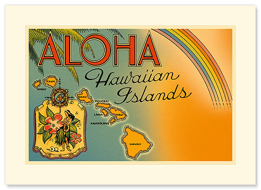Aloha Hawaiian Islands - Personalized Vintage Collectible Greeting Card