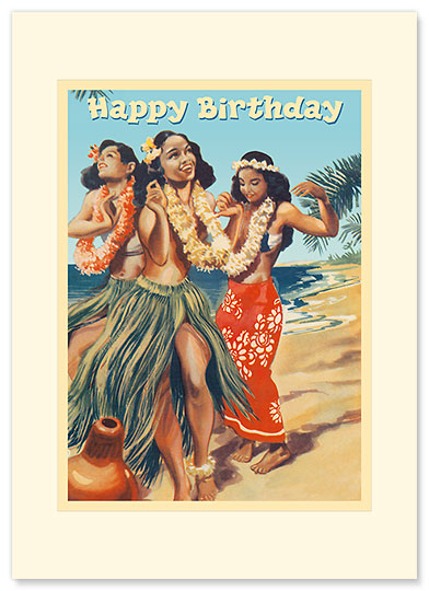 Hawaii - Hula Dancers - Personalized Vintage Collectible Greeting Card