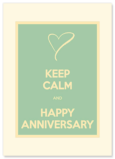 Keep Calm and Happy Anniversary - Personalized Vintage Collectible Greeting Card