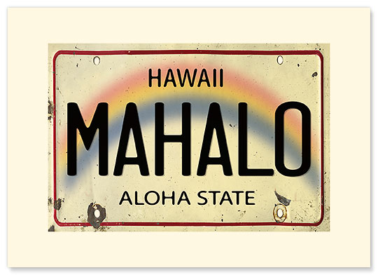 Mahalo License Plate - Personalized Vintage Collectible Greeting Card