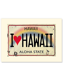 I Heart Hawaii License Plate - Hawaiian Premium Vintage Collectible Blank Greeting Card