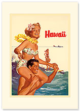 Hawaii Northwest Airlines - Hawaiian Premium Vintage Collectible Blank Greeting Card