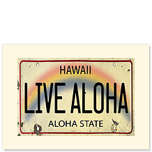 Live Aloha License Plate - Hawaiian Premium Vintage Collectible Blank Greeting Card