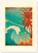 Hawaiian Birthday Wave - Hawaiian Premium Vintage Collectible Greeting Card - Happy Birthday Card