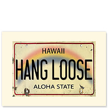 Hang Loose License Plate - Hawaiian Premium Vintage Collectible Greeting Card - Happy Birthday Card