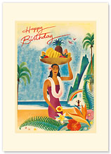 Hawaii - Hawaiian Premium Vintage Collectible Greeting Card - Happy Birthday Card