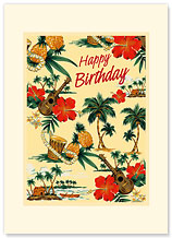 Island Scene - Hawaiian Premium Vintage Collectible Greeting Card - Happy Birthday Card