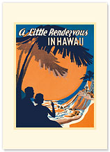 A Little Rendezvous in Hawaii - Hawaiian Premium Vintage Collectible Greeting Card - Wedding Card