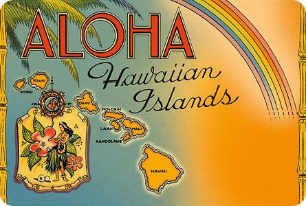 Hawaiian Vintage Postcard Aloha Hawaiian Islands