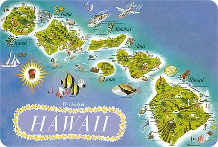 Hawaiian Vintage Postcard Map Of The Islands Of Hawaii