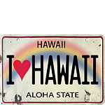 I Heart Hawaii License Plate - Hawaiian Vintage Postcard