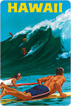 Hawaii Big Wave Surfing - Hawaiian Vintage Postcard