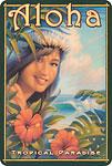 Aloha Tropical Paradise - Hawaiian Vintage Postcard