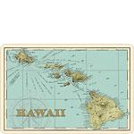 Map of Hawaii - Hawaiian Vintage Postcard