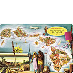 Aloha Airlines Map of Hawaii - Hawaiian Vintage Postcard