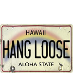 Hang Loose License Plate - Hawaiian Vintage Postcard