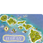 Map of the Islands of Hawaii - Hawaiian Vintage Postcard