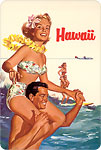 Hawaii Northwest Orient Airlines Tandem Surfing - Hawaiian Vintage Postcard