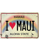 I Heart Maui License Plate - Hawaiian Vintage Postcard