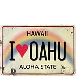 I Heart Oahu License Plate - Hawaiian Vintage Postcard