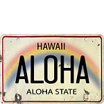 Aloha License Plate - Hawaiian Vintage Postcard