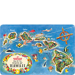 Hawaiian Airlines State Map - Hawaiian Vintage Postcard