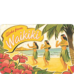 Aloha From Waikiki - Hawaiian Vintage Postcard