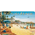 Waikiki Beach II - Hawaiian Vintage Postcard