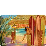 Come to Hawaii - Kona Surfboard Rentals - Hawaiian Vintage Postcard