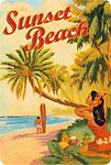 Sunset Beach Hawaii - Hawaiian Vintage Postcard