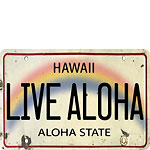 Live Aloha License Plate - Hawaiian Vintage Postcard