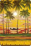 Fly Hawaiian Air - Hawaiian Vintage Postcard