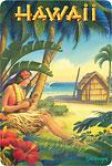 Hawaii - Hula Dancer with Ukulele - Hawaiian Vintage Postcard